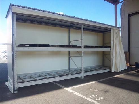 屋外用テント式パレットラック新設